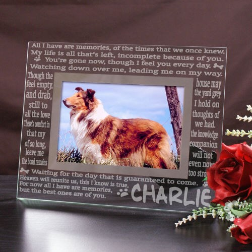 engraved memories pet memorial glass frame - Dog Memorial Frame