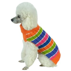 Rainbow Heavy Cable Knitted Ribbed Designer Turtle Neck Dog Sweater