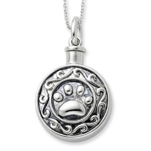 Sterling Silver Antiqued Paw Ash Holder 18in Necklace