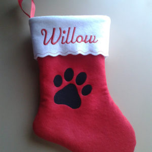 12 inch Embroidered Personalized Pet Christmas Stocking Dog Paw