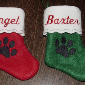 6 inch Personalized Embroidered Pet Felt Christmas Stocking with Paw Print