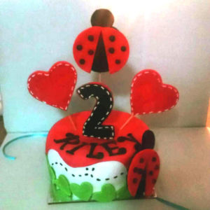 Personalized Lady bug and heart Birthday 6 inch Dog Birthday Cake
