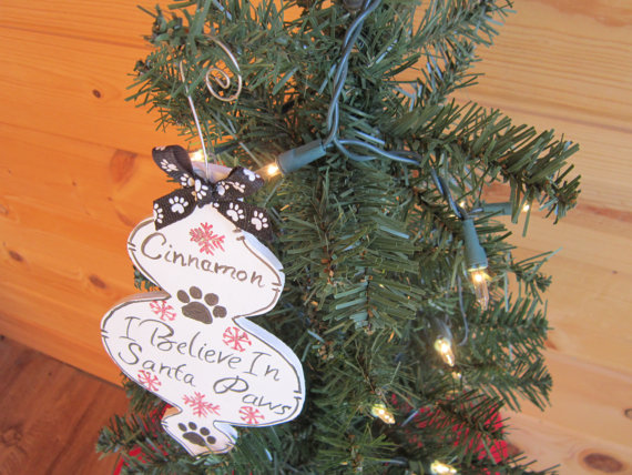 Personalized Handmade Wooden Christmas Dog Ornament