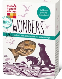 The Honest Kitchen Wonders Dehydrated Pure Pollock Fish Skin Treats for Dogs & Cats, 2-oz bag