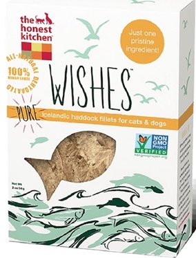 The Honest Kitchen Wishes Dehydrated Pure Iceland Haddock Fillets Dog & Cat Treats, 2-oz bag