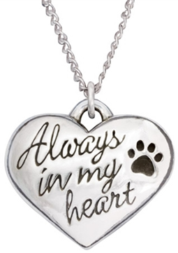"Always In My Heart Sterling Silver Pendant on 18"" Curb Chain"