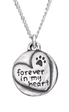 "Engraved Forever In My Heart Sterling Silver Pendant  on 18"" Curb Chain"