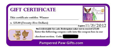 pampered paw gifts gift certificate