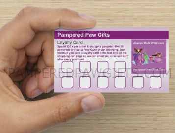 pampered paw gifts loyalty card