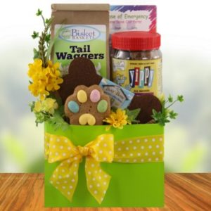 Easter dog treats giftpampered paw gifts dog gone cute dog luxury gift basket for dogs negle Choice Image