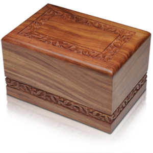 Hand Carved Rosewood Urn with Border Design For Pets