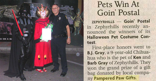 zephyrhills goin postal contest winners win a gift certificate from pampered paw gifts
