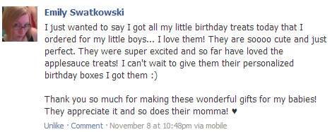happy customer review who ordered dog birthday treats from pampered paw gifts