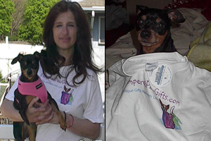 Kiki and Chris modeling pampered paw gifts t-shirt