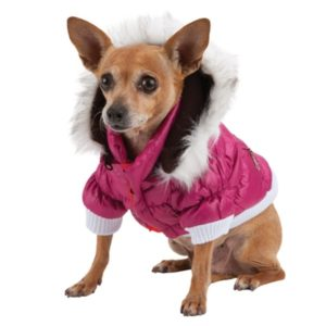 PET LIFE 3M THINSULATE METALLIC PINK PET DOG JACKET PARKA COAT