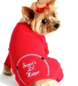 Red Santa's Lil' Helper Embroidered Pajama