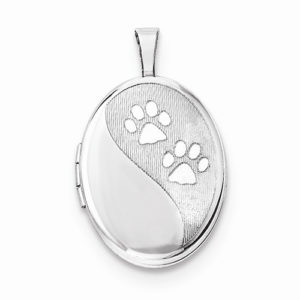 Sterling Silver Oval Paw Print Locket