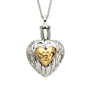 Sterling Silver and Yellow Plated Pet Heart Ash Holder 18 Necklace