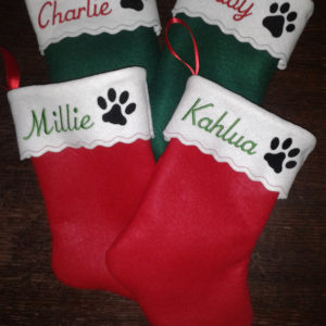 15 inch Embroidered Personalized Pet Christmas Stocking Dog Paw