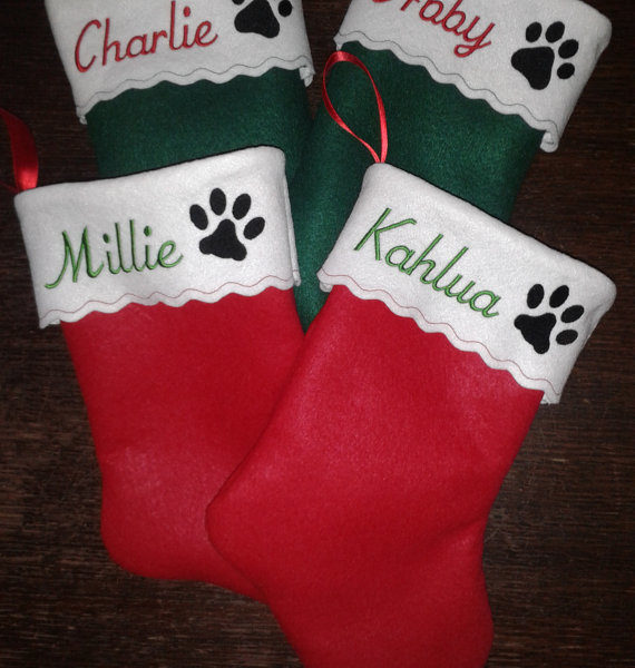 15 inch embroidered personalized pet christmas stocking cat or dog paw pampered paw gifts - Embroidered Christmas Stocking