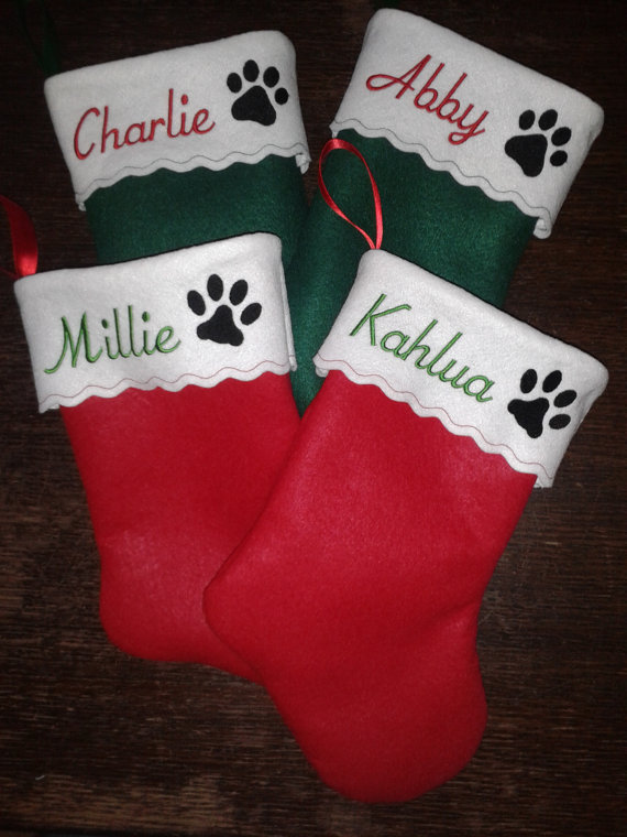 15 inch embroidered personalized pet christmas stocking