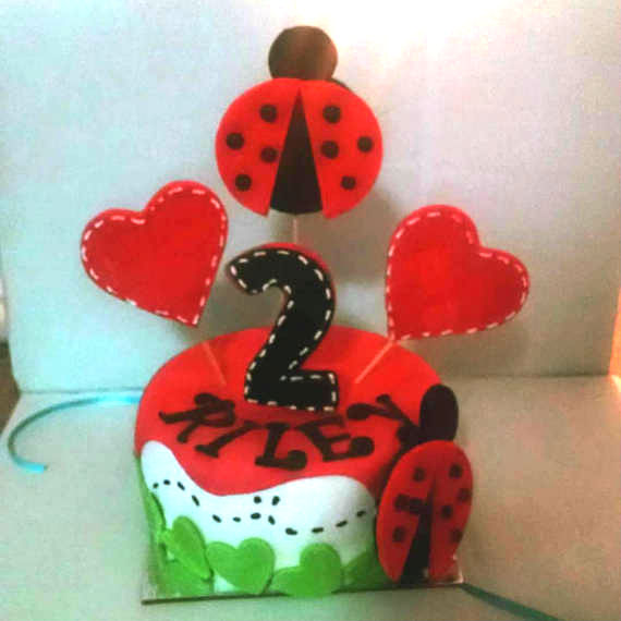 Personalized Ladybug And Heart Birthday 6 Inch Dog Cake