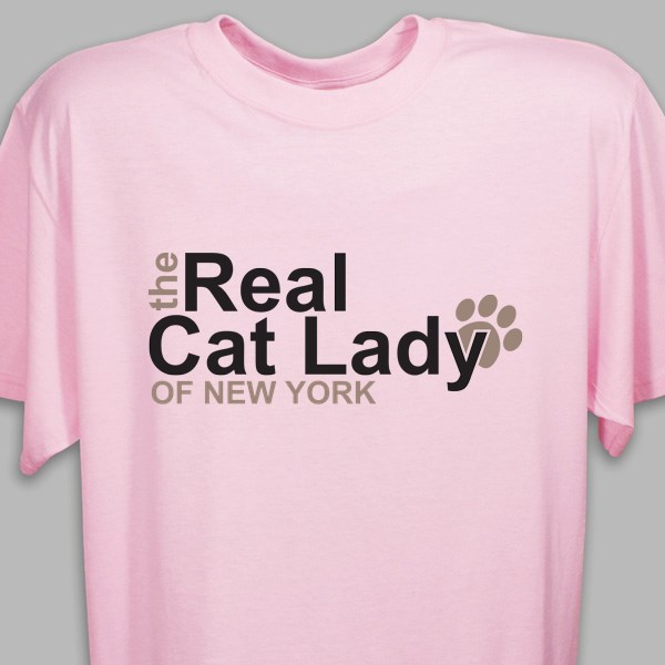 380328941 Personalized The Real Cat Lady T-Shirt   Pampered Paw Gifts