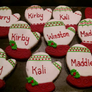 2 Personalized Dog Treats Christmas Mittens