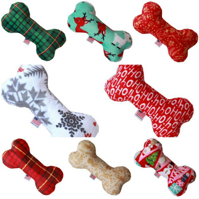 christmas dog bone shaped dog toys