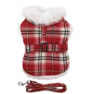 plaid-fur-trimmed-dog-harness-coat-red-white-9120