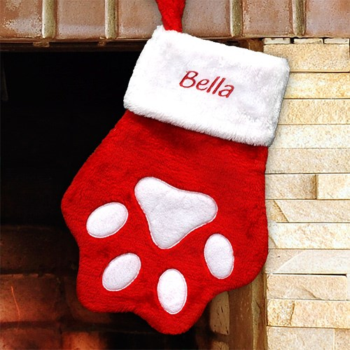 6a8fdbc3d68 Embroidered Red Paw Christmas Stocking»Pampered Paw Gifts