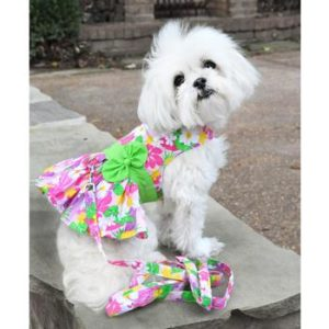 d73f353a099a Pink Hawaiian Floral Dog Harness Dress with Matching Leash